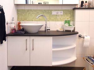 Waschbecken rund mit Waschtisch