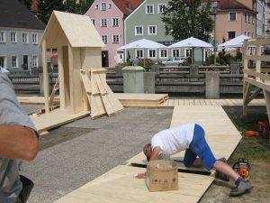 Holzstege für Veranstaltung