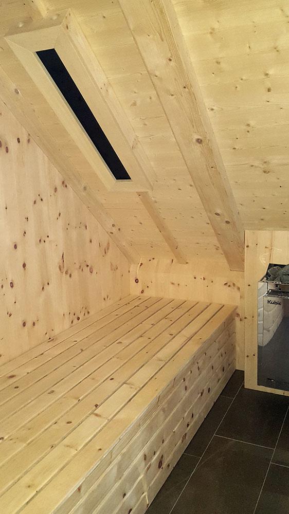 Sauna aus Zirbenholz