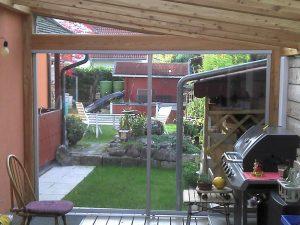 Windschutzscheibe für überdachte Terrasse