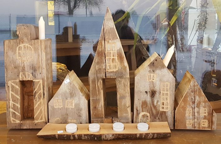 Holzskulptur Baum & Engel